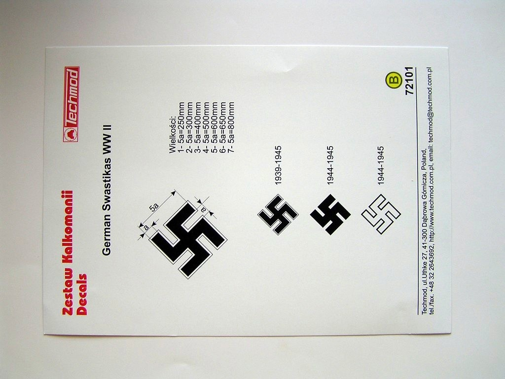 Instructions for transfer decal sheet with nazi swastikas